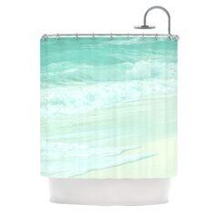 "Monika Strigel ""Paradise Beach Mint"" Teal Green Shower Curtain   #mint #seafoam #aqua #beach #waves #mexico #florida #summer #beachy #showercurtain #bathroom #apartment #fresh #monikastrigel"