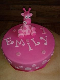 Geburtstag-Kinder » Torte Giraffe pink
