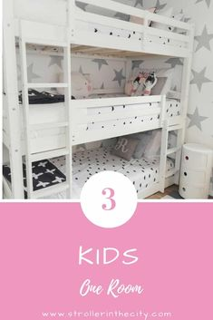 Three Kids In One Room Three Kids In One Room New York City apartments are all about maximizing small spaces. Check out this amazing bedroom makeover: Three Kids In One Room! Kids Bedroom Paint, Bedroom For Girls Kids, Kids Bedroom Designs, Kids Bedroom Furniture, One Bedroom, Bedroom Ideas, Shared Kids Rooms, Bedroom Decor, Fantasy Bedroom