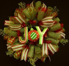 Red White Green Christmas Wreath, Poly Mesh Wreath, Item 846 | WreathsbyRobin - Seasonal on ArtFire