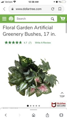 Floral Garden Artificial Greenery Bushes, 17 in. Melbourne House, Greenery, Writing, Garden, Floral, Plants, Garten, Lawn And Garden, Flowers