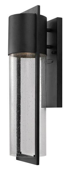 Hinkley Lighting 1324BK-GU24 Shelter 1 Light 21 inch Black Outdoor Wall Lantern in GU24 Clear Seedy Glass