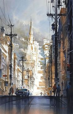 After the Rain - Filbert Street : San Francisco by Thomas W. Schaller Watercolor ~ 30 x 22 inches #watercolorarts