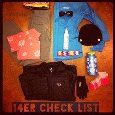 Visual hiking a 14er checklist - for the ladies! #colorado #hiking #COgetmovin