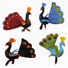 Peacock Felt Ornaments - Kork: Fiber Art Group via Silk Road Bazaar | Touchstone Gallery