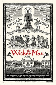 "keyframedaily: "" Robin Hardy's The Wicker Man Poster by Richard Wells via Film on Paper. Horror Movie Posters, Movie Poster Art, Horror Films, Art Posters, The Ancient Magus, Wicker Man, Screen Printing, Graphic Design, Artwork"