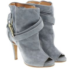 Pre-owned Pigeon blue-gray Peeptoe ankle boots ($320) ❤ liked on Polyvore featuring shoes, boots, ankle booties, booties, grey, grey suede booties, peep toe bootie, ankle boots, peep toe booties and suede boots