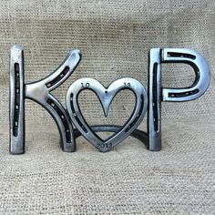 Personalized horseshoe heart sign, country wedding or anniversary centerpiece, date stamped, MADE to ORDER