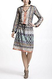 Abstract Photo Print Blouson Dress