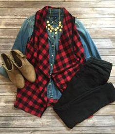 Red & Black Checkered Vest