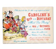 Alice in Wonderland Mad Tea Party Invitation - Print your own - Digital Invitation by PinkPaperTrail on Etsy https://www.etsy.com/listing/71032884/alice-in-wonderland-mad-tea-party