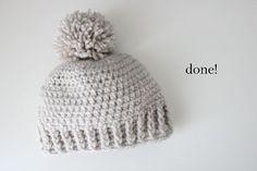 Crocheted Ribbed Beanie - Free Pattern - delia creates ✿⊱╮Teresa Restegui http://www.pinterest.com/teretegui/✿⊱╮