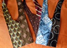 """Hip sling bags made from recycled ties. From """"Pile of Craft"""" (love that name btw) Pin It"""
