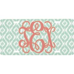 Monogram Front License Plate (Personalized)