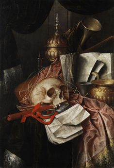 Franciscus Gijsbrechts – after Vanitas still life, Oil on canvas Memento Mori Art, Vanitas Paintings, Vanitas Vanitatum, Dance Of Death, Baroque Art, Danse Macabre, Great Paintings, Collage, Skull Art
