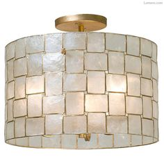 The Roxy Semi Flush offers a chic look, featuring a drum shade composed of authentic Capiz Shell pieces framed in oxidized Gold Leaf and arranged in a subtle basket weave pattern. ETL and cUL listed. Semi Flush Lighting, Semi Flush Ceiling Lights, Flush Mount Ceiling, Ceiling Light Fixtures, Home Lighting, Bedroom Ceiling Lights, Drum Light Fixture, Tiffany Ceiling Lights, Beach Lighting