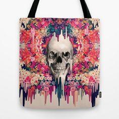Seeing Color Tote Bag by Kristy Patterson Design - $22.00 #meltingskull, #skullart, #skulltote, #skullbag, #floralskull, #sugarskull, #mexicanskull, #dayofthedead