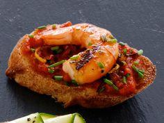 Spicy Shrimp Bruschetta recipe from Food Network Kitchen via Food Network Bruschetta Recipe Food Network, Italian Bruschetta Recipe, Shrimp Bruschetta, Food Network Recipes, Gourmet Recipes, Appetizer Recipes, Cooking Recipes, Appetizer Ideas, Cooking Food