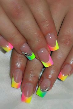 Nails french tip nails, french nail art, neon french manicure, french nail design Rainbow Nails, Neon Nails, Diy Nails, Neon Rainbow, Neon Nail Art, Rainbow Swirl, Nail Nail, French Nail Art, French Tip Nails