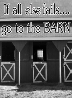 If All Else Fails Go To The Barn....I generally say before I screw anything up, I'm going to go to the barn.  Everything is easier to deal with after that