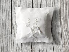 Little white monogrammed #wedding ring pillow
