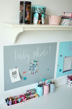Mrs Polka Dot /  farba tablicowa w pastelowej odsłonie! Produkt: Tikkurila Liitu
