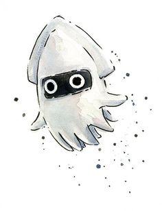 Blooper Character Watercolor Art Print, Geek Videogame Nintendo Mario Painting…