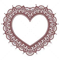Heart Mehndi design Indian Henna tattoo pattern vector image on VectorStock Henna Tattoo Hand, Henna Tattoos, Henna Tattoo Muster, Henna Mehndi, Mandala Tattoo, Mehendi, Henna Mandala, Henna Hand Designs, Mehndi Designs