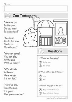 Reading Comprehension & Fluency - Phonics Poems (color and black and white). This unit includes poems with and without comprehension questions to help differentiate!