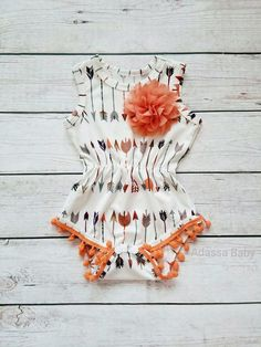 Boho Peach And Cream Pom Pom Romper Girl Show your little princess off in this super cute peach and cream pom pom romper embellished with a soft peach chiffon flower. Pom pom rompers are a must have! Made of super soft stretch material for a Baby Outfits, Kids Outfits, Toddler Outfits, Trendy Outfits, Maternity Outfits, Baby Girl Romper, My Baby Girl, Baby Baby, Baby Girls