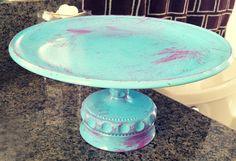DIY, how to, painted cake stand with colors on top of the plate instead of just under. Use sealant at the end to make the top food safe