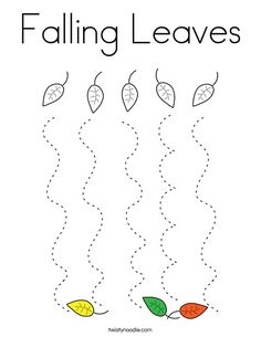 Falling Leaves Coloring Page - Twisty Noodle