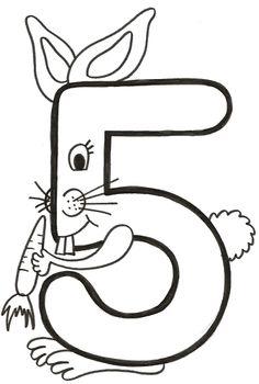 número cinco conejo Kindergarten Design, Kindergarten Math Worksheets, Alphabet Worksheets, Preschool Activities, Numbers Preschool, Preschool Printables, Preschool Math, Alphabet Letter Crafts, Alphabet For Kids
