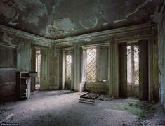 All that is left of note in this once-proud room are the grills on the windows