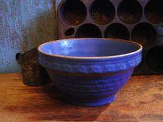 Primitive Antique Blue Yelloware