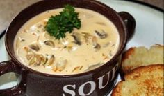 Mushroom Soup - Pinner says: I found this yummy mushroom soup recipe from The Pioneer Woman and since I love mushrooms I had to try it. It is so rich and full of flavor and dipping freshly toasted french bread is a must! Best Mushroom Recipe, Mushroom Soup Recipes, Cream Soup Recipes, Great Recipes, Favorite Recipes, Yummy Recipes, Chili Recipes, Crockpot Recipes, Soup Kitchen