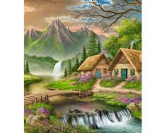 DIY Digital Canvas Oil Painting By Numbers Pictures Coloring By Numbers Large Acrylic Paint By Number Kits Fairy House Beautiful Paintings, Beautiful Landscapes, Landscape Art, Landscape Paintings, Belle Image Nature, Beautiful Places, Beautiful Pictures, Scenery Paintings, Indian Paintings
