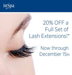 Receive 20% off a full set of lashes through December 15, 2013.