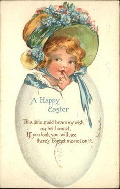 Irene Marsellus Easter Little Girl in Bonnet in Egg E Nister c1910 Postcard | eBay