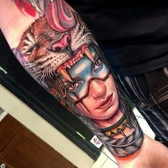 Native american tattoo by Roman Abrego