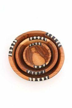 Small Wild Olive Wood & Bone Bowls (Set of 3)