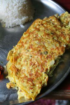 Egg Omelette For Rasam Rice / Masala Omelette / Egg Omelet - Indian Style