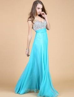 a89564cbb83 Blue gown with beading as decoration Prom Dresses Under 100