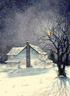 Winter's Silent Night Painting by Janine Riley - Winter's Silent Night Fine Art Prints and Posters for Sale