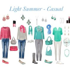 """Light Summer - Casual"" by livinglifeincolour on Polyvore.  Please note that none of these items have been colour matched in person to Light Summer palette."