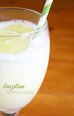 Brazilian Lemonade - limes, sweetened condensed milk, sugar, water, crushed ice