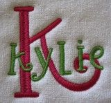 Swirly Embroidery Monogram made for Stacking  #embroidery #designs #akdesigns