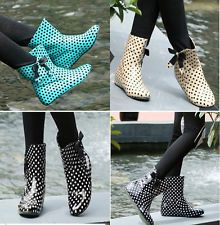 Details about Women's Ankle Rain Boots Bowknot Low Heels Cute ...
