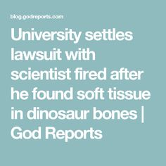 University settles lawsuit with scientist fired after he found soft tissue in dinosaur bones | God Reports
