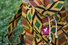 Taaluma Totes || Backpack made of Ghanaian Kente fabrics. Returns money back to Ghana. www.taalumatotes.com